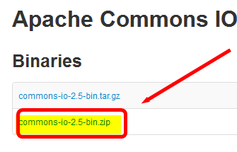 apache commons library commons io 2.5 bin