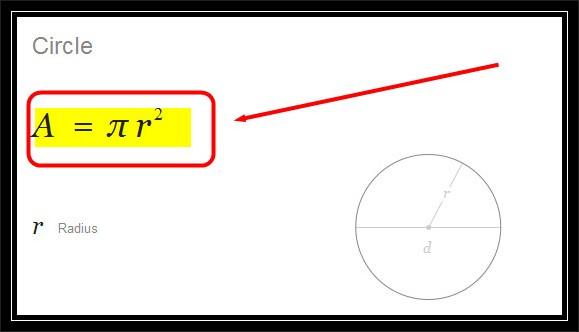 area of a circle formula