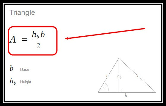 formula for calculating the area of a triangle