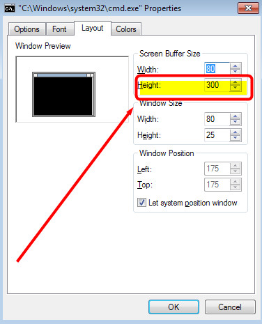 buffer default size console application