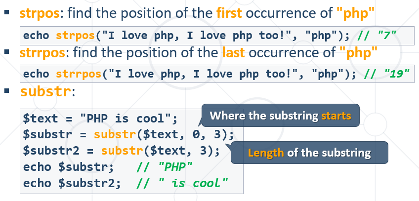 find substring php
