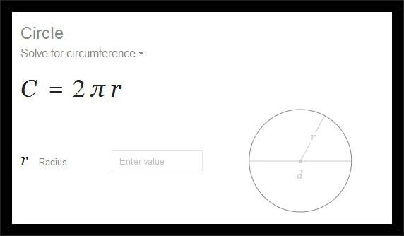 formula for calculating circumference perimeter of circle