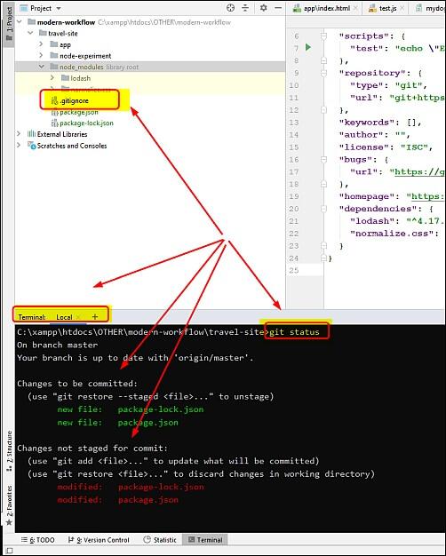 check git status in phpstorm terminal