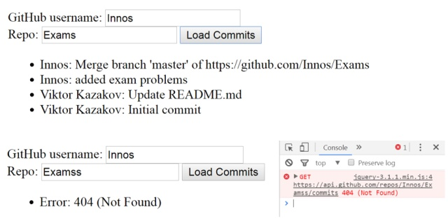 github commits task with javascript