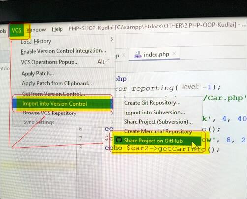 github and phpstorm settings and configuration