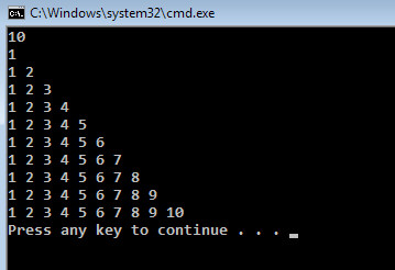 half triangle of numbers in C#