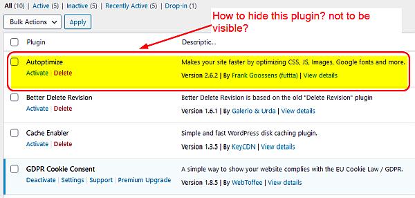 how to hide plugin in the wordpress plugin area