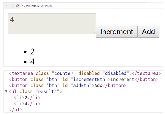 increment counter jquery