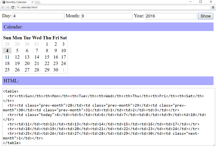 monthly calendar look in javascript