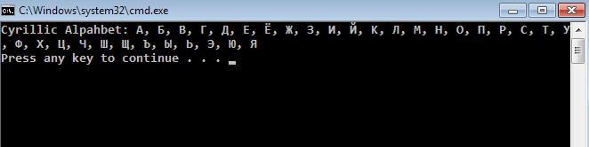 printing the whole cyrillic alphabet in Visual Studio