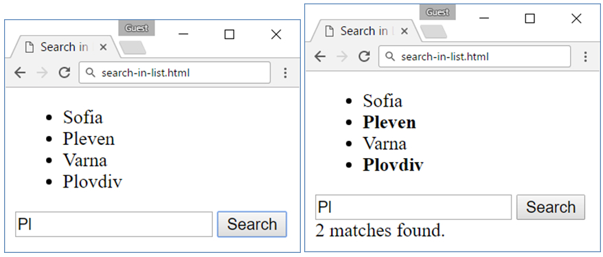 search in list jquery