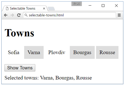 selectable towns jquery
