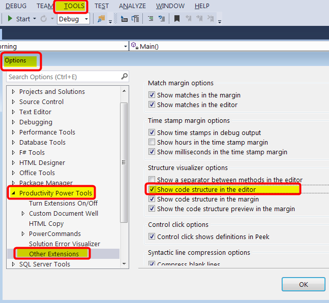 showing and activating vertical braces in Visual Studio