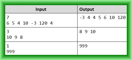 sort an array of numbers example table
