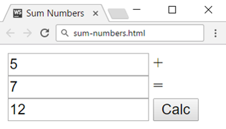 sum numbers in html with javascript