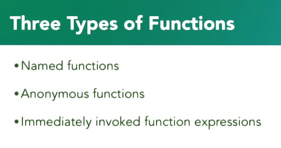 types of functions in javascript