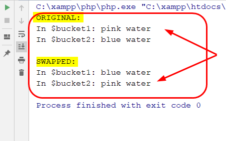 value swapping of two variables in php