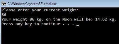 calculate the weight on the Moon in C Sharp